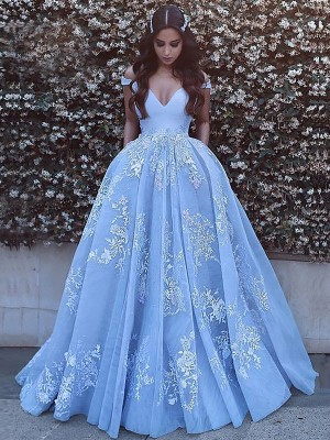 Ball Gown Off-the-Shoulder Sleeveless Tulle Applique Sweep/Brush Train Dresses