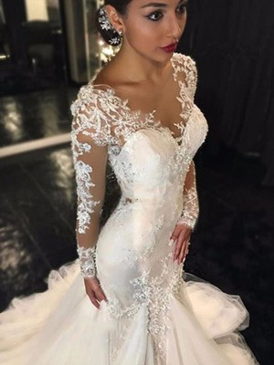 Trumpet/Mermaid Long Sleeves V-neck Tulle Lace Court Train Wedding Dresses