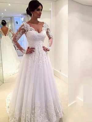 Ball Gown Long Sleeves V-neck Tulle Lace Sweep/Brush Train Wedding Dresses