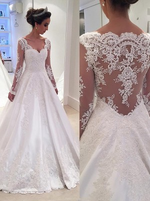 Ball Gown Long Sleeves V-neck Satin Lace Court Train Wedding Dresses