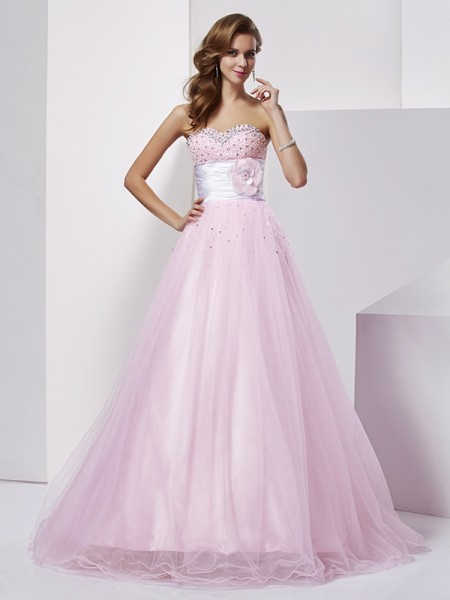 Ball Gown Strapless Beading Long Elastic Woven Satin Quinceanera Dress