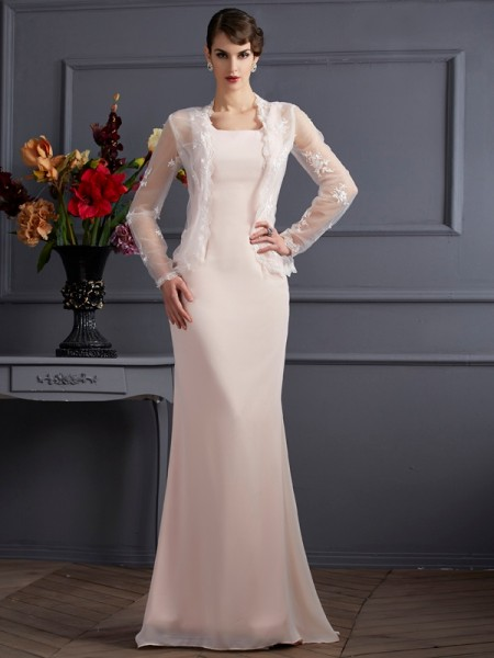 Sheath/Column Square Mother of the Bride Dress with Long Chiffon