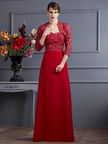 A-Line/Princess Sweetheart Beading Mother of the Bride Dress with Long Chiffon