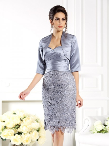 Sheath/Column Sweetheart Lace Short Satin Mother of the Bride Dress
