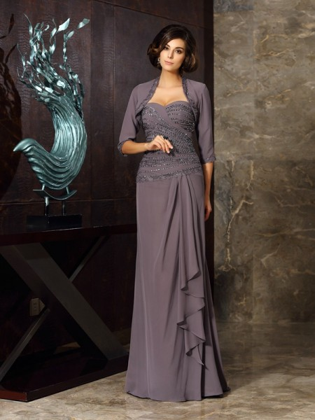 Sheath/Column Sweetheart Beading Applique Mother of the Bride Dress with Long Chiffon