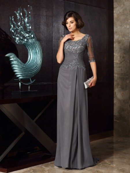A-Line/Princess Scoop Chiffon 1/2 Sleeves Beading Floor-Length Mother of the Bride Dresses