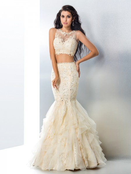 Trumpet/Mermaid Sheer Neck Beading Long Tulle Two Piece Dress