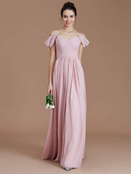 A-line/Princess Off-the-Shoulder Sleeveless Chiffon Ruched Floor-Length Bridesmaid Dresses