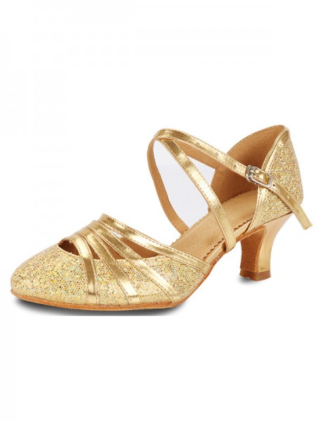 Cone Heel Closed Toe Sparkling Glitter Sandals For Women