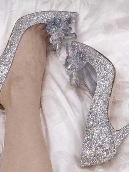 Stiletto Heel Closed Toe High Heels With Crystal For Women