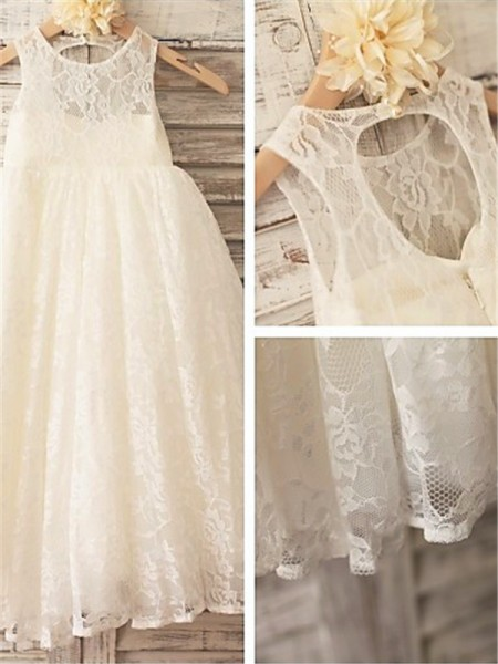 A-line/Princess Scoop Sleeveless Lace Ankle-Length Flower Girl Dresses