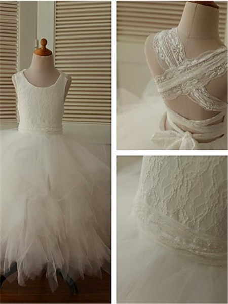 Ball Gown Scoop Sleeveless Organza Lace Ankle-Length Flower Girl Dresses