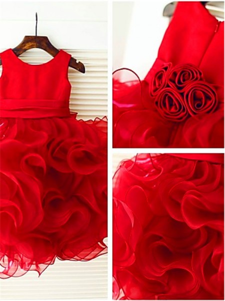 Ball Gown Scoop Sleeveless Organza Layers Knee-Length Flower Girl Dresses
