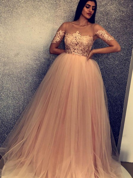 Ball Gown Scoop Short Sleeves Applique Tulle Sweep/Brush Train Dresses