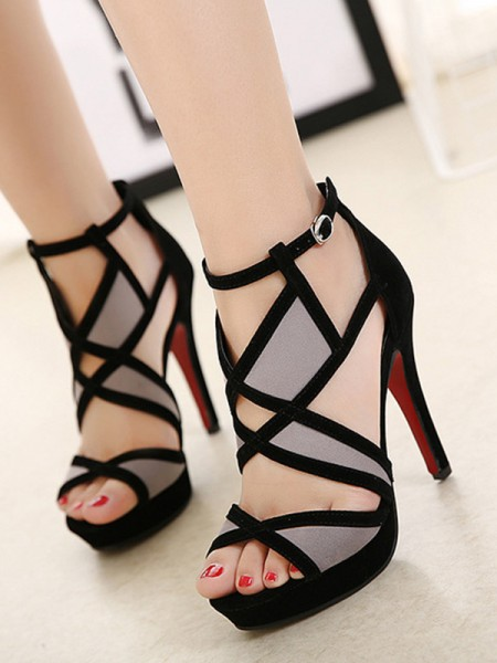 Stiletto Heel Peep Toe Sandals With Hollow-out For Women
