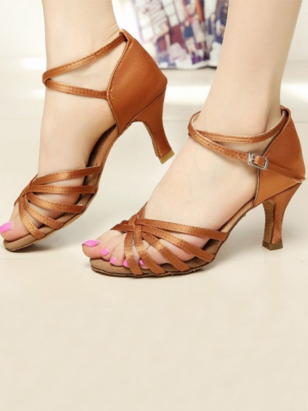 Cone Heel Peep Toe Sandals With Satin For Women