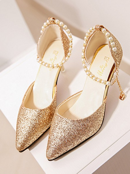 Stiletto Heel Closed Toe High Heels With Pearl For Women