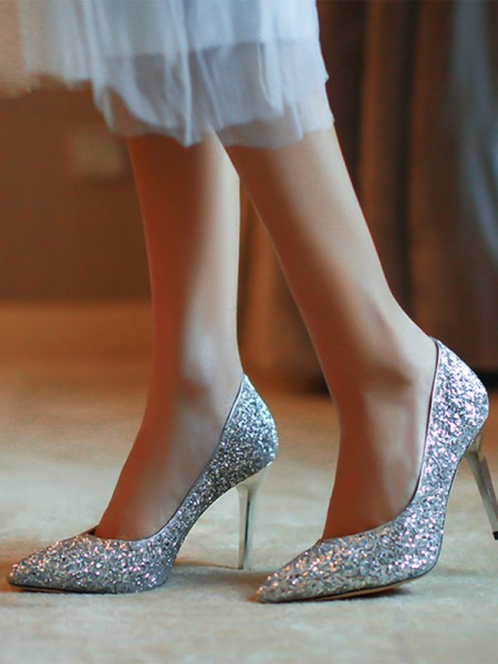 Closed Toe Stiletto Heel High Heels With Sparkling Glitter For Women
