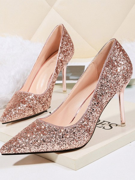Stiletto Heel Closed Toe High Heels With Sparkling Glitter For Women
