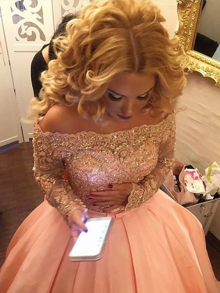 Ball Gown Off-the-Shoulder Long Sleeves Satin Beading Court Train Dresses