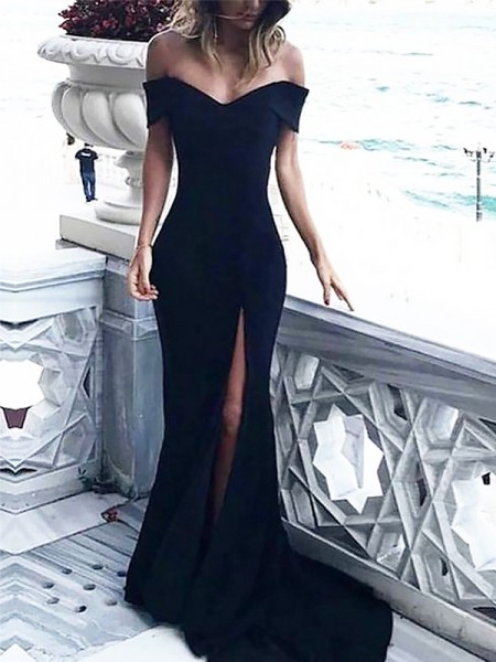 Sheath Sleeveless Off-the-Shoulder Ruched Spandex Court Train Dresses