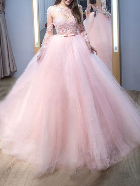 Ball Gown Long Sleeves Jewel Tulle Lace Sweep/Brush Train Dresses