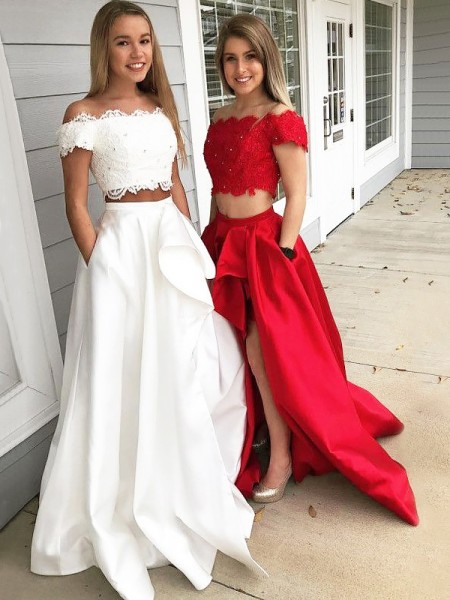 A-Line/Princess Off-the-Shoulder Sweep/Brush Train Satin Two Piece Dress with Lace