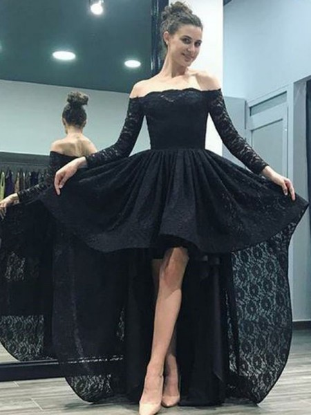 A-line/Princess Long Sleeves Off-the-Shoulder Lace Asymmetrical Sweep/Brush Train Dresses