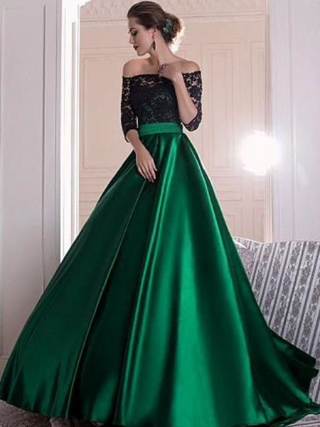A-line/Princess 3/4 Sleeves Off-the-Shoulder Lace Satin Ruched Sweep/Brush Train Dresses