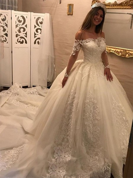 Ball Gown Long Sleeves Off-the-Shoulder Tulle Applique Cathedral Train Wedding Dresses