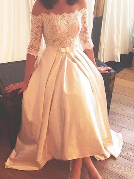 A-line/Princess Off-the-Shoulder 1/2 Sleeves Asymmetrical Lace Satin Sweep/Brush Train Wedding Dresses