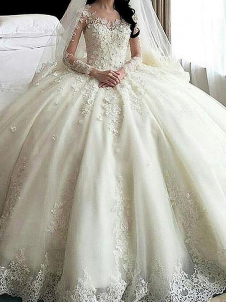 Ball Gown Long Sleeves Scoop Tulle Lace Applique Cathedral Train Wedding Dresses