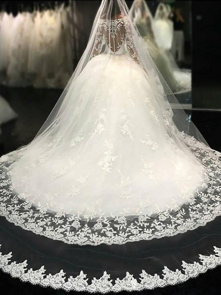 Ball Gown Scoop Long Sleeves Lace Tulle Applique Cathedral Train Wedding Dresses