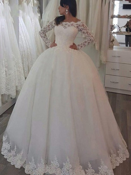 Ball Gown Long Sleeves Off-the-Shoulder Lace Applique Sweep/Brush Train Wedding Dresses