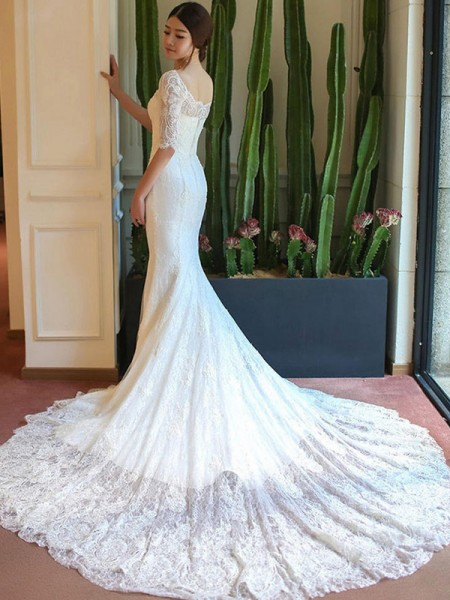 Trumpet/Mermaid Square 1/2 Sleeves Lace Applique Cathedral Train Wedding Dresses