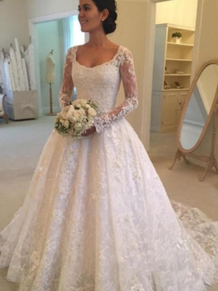 Ball Gown Scoop Long Sleeves Lace Ruffles Cathedral Train Wedding Dresses