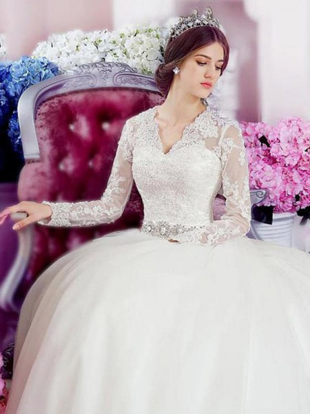 A-line/Princess V-neck Long Sleeves Tulle Applique Lace Cathedral Train Wedding Dresses