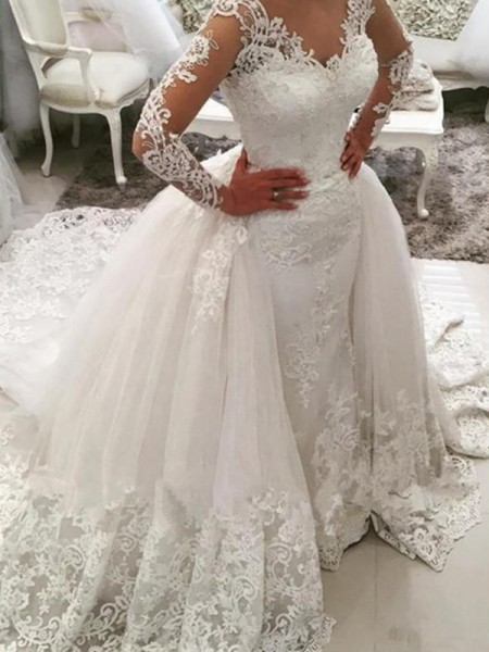 Ball Gown Long Sleeves V-neck Tulle Applique Lace Cathedral Train Wedding Dresses