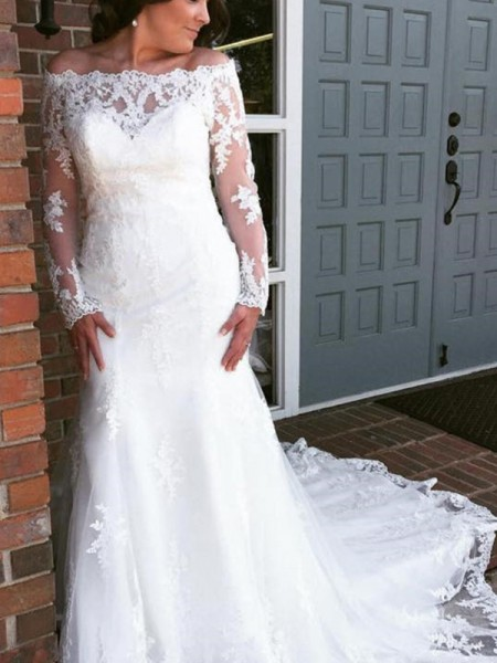 Trumpet/Mermaid Applique Off-the-Shoulder Long Sleeves Tulle Cathedral Train Wedding Dresses