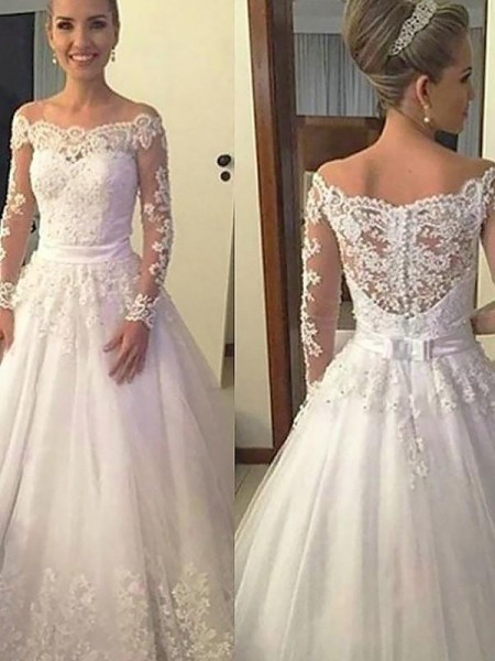 Ball Gown Applique Off-the-Shoulder Long Sleeves Tulle Court Train Wedding Dresses
