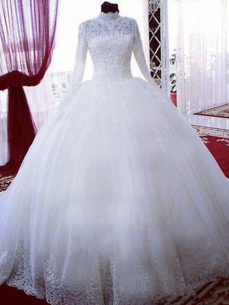 Ball Gown Long Sleeves Lace High Neck Tulle Chapel Train Wedding Dresses