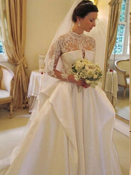 Ball Gown Long Sleeves Satin High Neck Lace Chapel Train Wedding Dresses