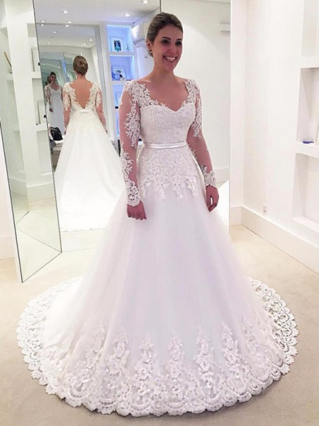 A-line/Princess Long Sleeves V-neck Tulle Lace Sweep/Brush Train Wedding Dresses