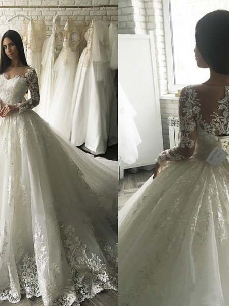 Ball Gown Long Sleeves Tulle Scoop Court Train Wedding Dresses