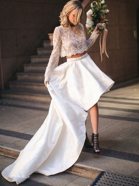 A-line/Princess Long Sleeves Satin Scoop Lace Sweep/Brush Train Two Piece Wedding Dresses