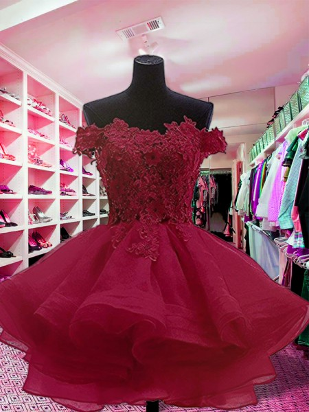 Ball Gown Off-the-Shoulder Sleeveless Short/Mini Organza Dresses