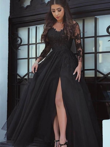 Ball Gown Off-the-Shoulder Long Sleeves Lace Floor-Length Dresses