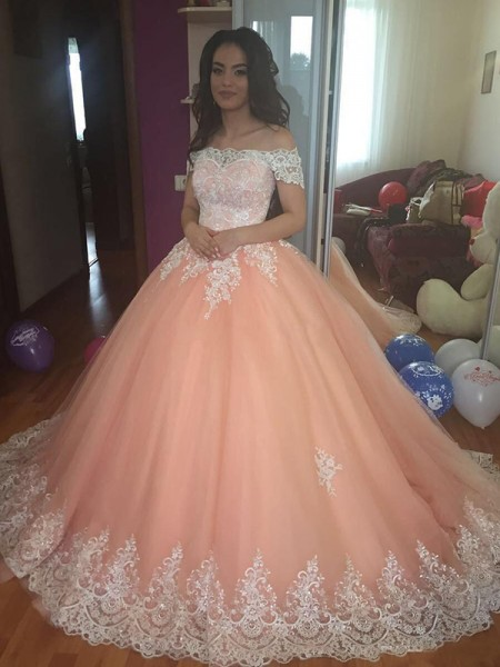 Ball Gown Off-the-Shoulder Sleeveless Tulle Lace Court Train Dresses