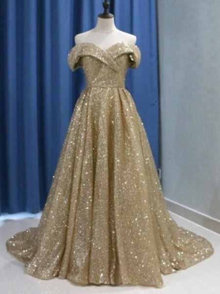 Ball Gown Off-the-Shoulder Sleeveless Ruffles Sequins Sweep/Brush Train Dresses