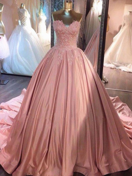 Ball Gown Sweetheart Sleeveless Lace Satin Court Train Dresses